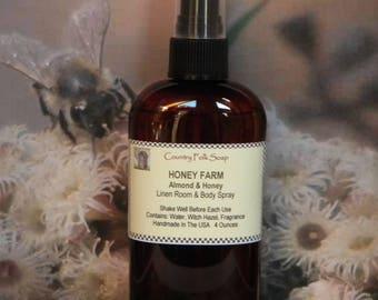 HONEY FARM Honey Almond Room Fragrance Spray, Honey Almond Body Mist, Honey Almond Air Freshener, Honey Almond Linen and Room Spray