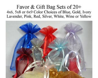 Favor Bags 4x6 5x8 (5x7) 6x9, Gift Bags, Organza Bags, Wedding Favor Bags, Baby Shower, White, Ivory, Pink, Blue, Lavender, Red, Silver
