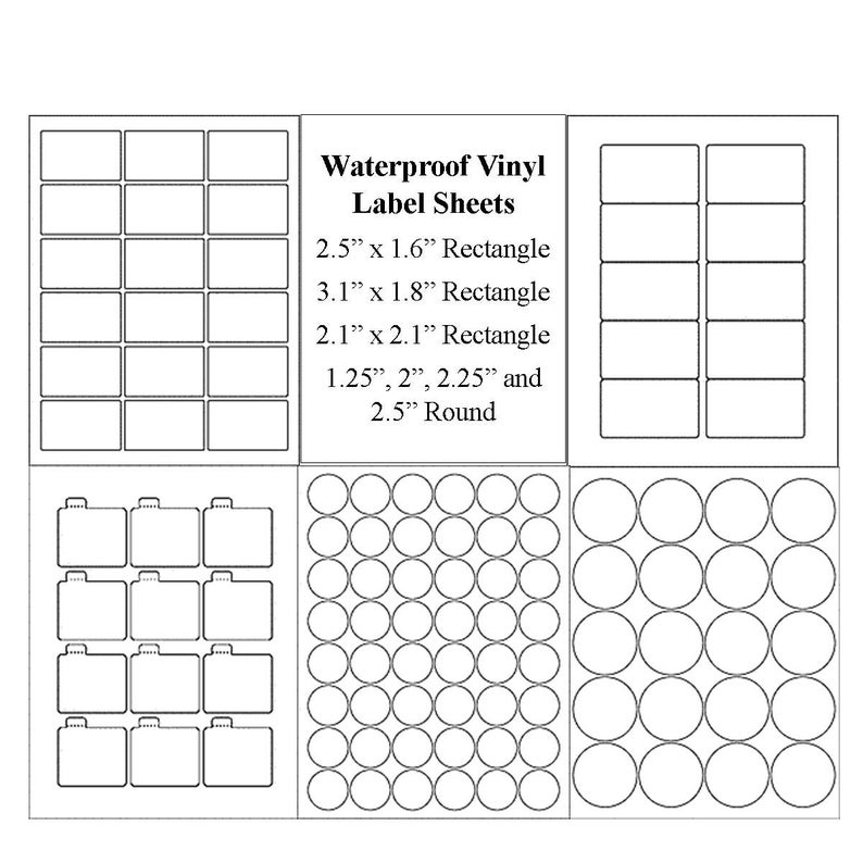 image regarding Waterproof Printable Labels named Blank Label Sheets, Water-resistant Labels, Vinyl Labels, Jar Labels, Lip Balm Labels, Candle Labels, Spherical Labels, Vinyl Water-resistant Stickers