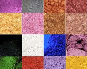 Cosmetic Mica Natural Pigment Powder For Soap Sample Set or Oz,  Matte & Pearl Blue Brown Green Lavender Metallic Pink Purple Red Yellow
