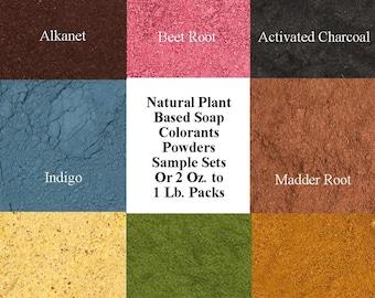 Natural Soap Colors, Sample Set Soap Colorants Supplies, Vegetable Powders Charcoal Alkanet Beet Root Indigo Madder Orange Rose Hip Parsley