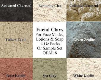 Facial Clay, Cosmetic Clay Sample Set, Rose Kaolin Clay, French Green Clay, Sea Clay, Bentonite Clay, Fullers Earth Clay, Green Zeolite Clay