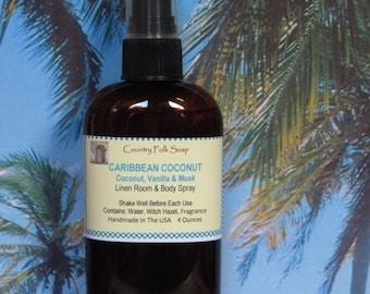 CARIBBEAN COCONUT Body Mist and Home Fragrance Spray, Coconut Car Linen & Room Spray, Toasted Goat