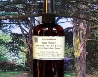 WOOD STOCKED Cedar Wood Home Fragrance Spray with Amber Musk & Vanilla - Linen Room Spray