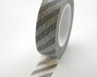 Washi Tape - 15mm - Grey and White Diagonal Stripe - Deco Paper Tape No. 359