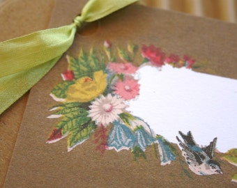 Set of  15 - Packaging and Gift Cards - Vintage Antique Bird and Floral Design - Tags