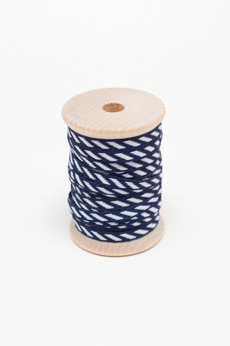 Navy Blue and White Diagonal Stripe Stitched Woven Ribbon - 10 Yards on  Wooden Spool - 1/8 Inch Width