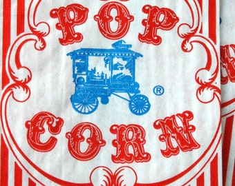 Vintage Style Wagon Popcorn Bags - Red and White Stripes - Gusseted 3 1/2 x 2 1/4 x 7 3/4 Inches - set of 300