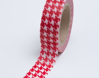 Washi Tape - 15mm - Red  Houndstooth - Deco Paper Tape No. 756