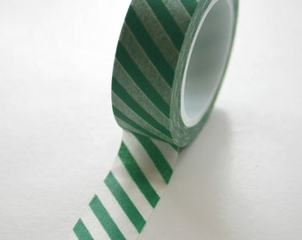 Washi Tape - 15mm - Green and White Diagonal Stripe - Deco Paper Tape No. 464