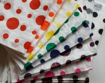 50% OFF - Set of 25 - Traditional Sweet Shop Dots Paper Bags - 7 x 9 - Your Color Choice