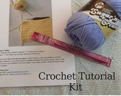 Beginner Crochet Kit, Washcloth Pattern Kit, Learn to Crochet, DIY Crochet Kit, How to Supplies, Beginner Tutorial, Crochet Project Pack