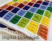 Crochet Lego Blanket Pattern, Autism Awareness Colors, Digital Download, Instant PDF, Easy Beginner Afghan, Special Gift, Christmas Project