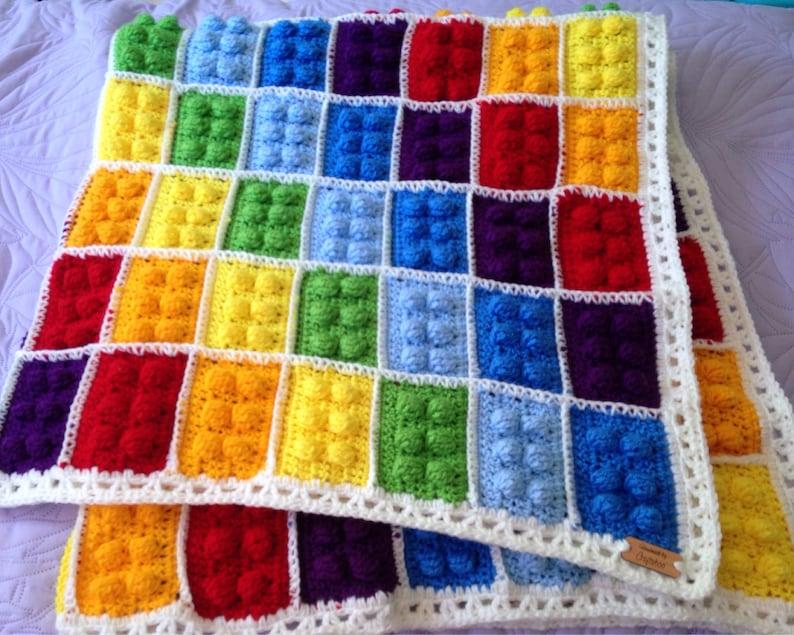Crochet LEGO Blanket Block Afghan Crochet Brick Throw Toy image 0