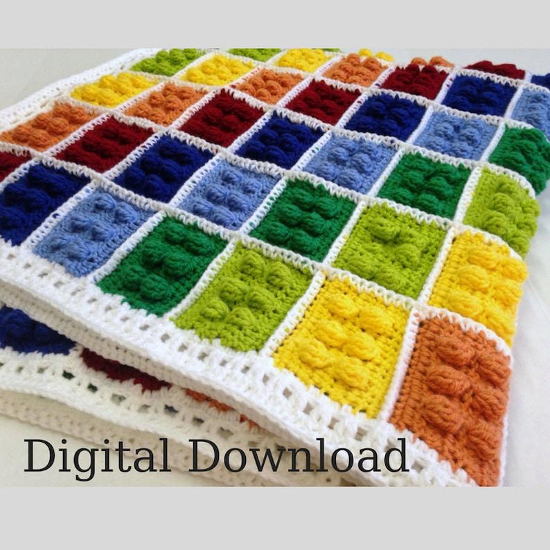 Crochet Blanket Pattern   Building Blocks  Handmade Present image 0
