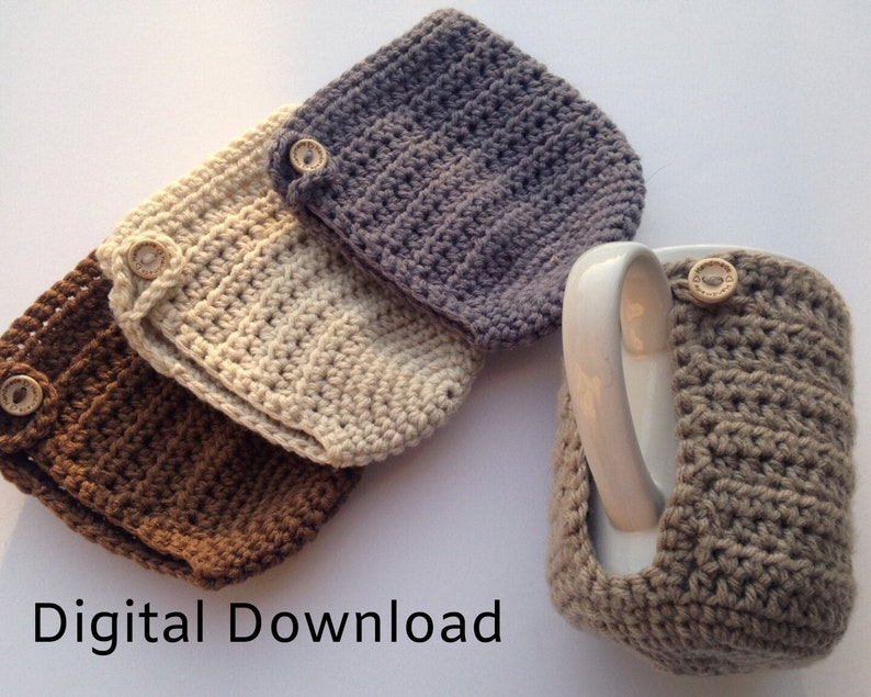 Beginner Crochet Pattern Cozy with Buttons Reusable Cup image 0