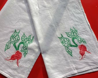 Block Print Radish Tea Towel