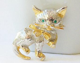 Vintage Cat Brooch, Cat Jewelry, Vintage Cat Brooch, Vintage Cat Brooch Pin , Costume Jewelry