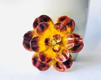 Vintage Yellow and Brown Enamel Flower Brooch, Vintage Flower Brooch Pin, 1970 Flower Enamel Brooch Pin