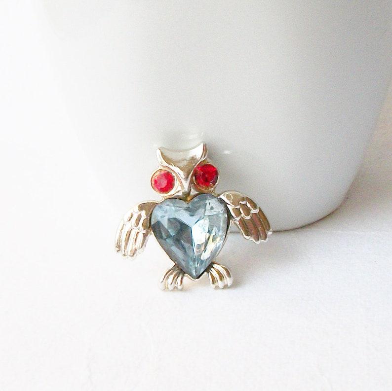 Blue Heart Owl Brooch Vintage Owl Brooch