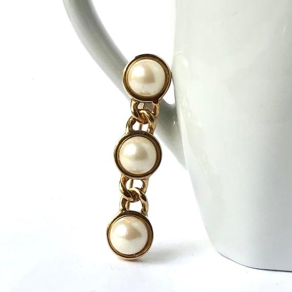 Vintage Pearl Bar Brooch - image 1