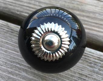 Black Ceramic Drawer Knobs - Cabinet Knobs - Furniture Knobs  (CK52)