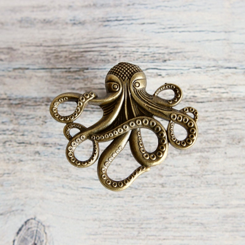 Octopus Drawer knobs in Brass  Octopus Cabinet knobs in Brass image 0