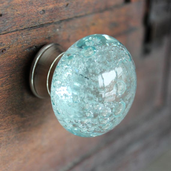 Glass Drawer Knobs with bubbles in Light Blue Glass Knobs