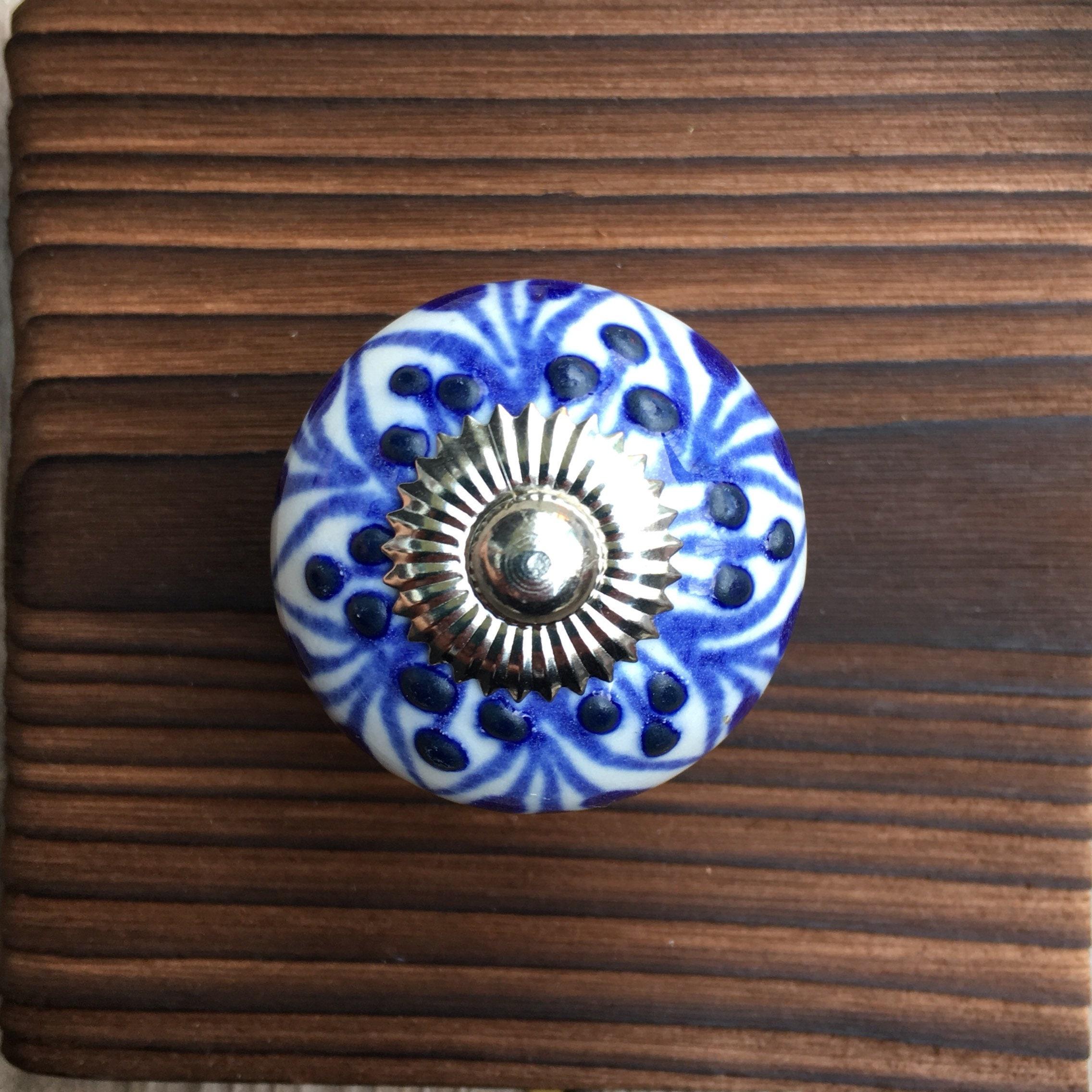 Round Ceramic Drawer Knob,blue /& White flower 40mm