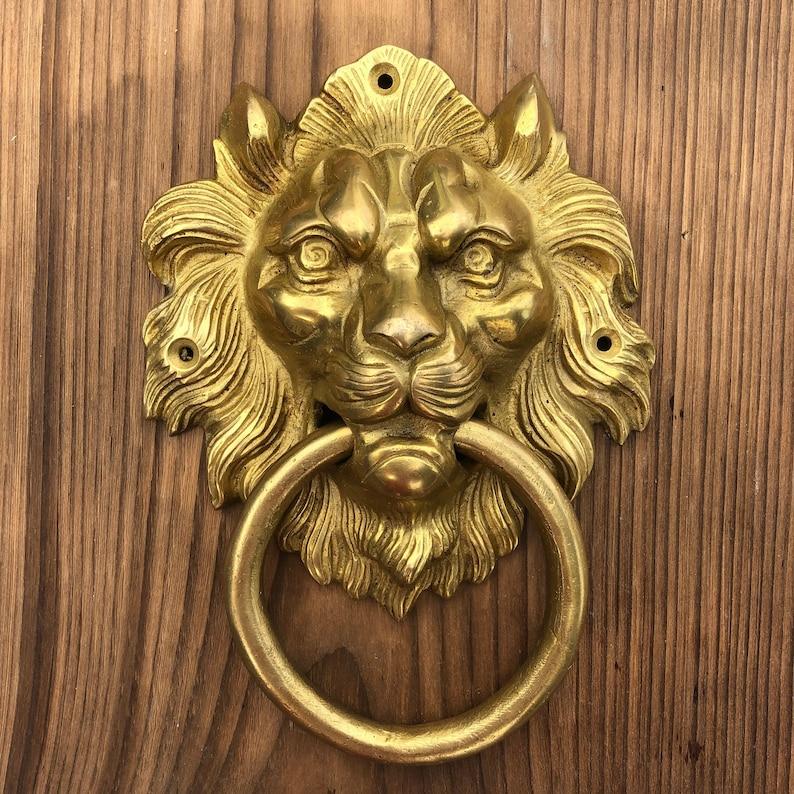 Very Large Lion Door Knocker Lion Head Knocker Brass Door Knocker Vintage Replica Door Knocker In Brass
