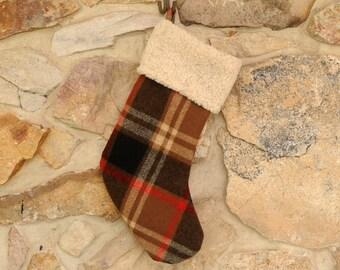 Plaid Wool Christmas Stocking, Personalized