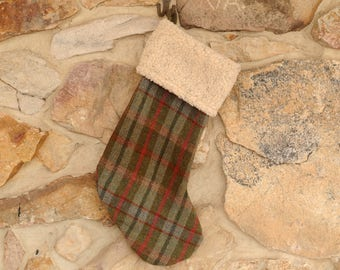 Plaid Christmas Stocking, Red and Green Wool, Personalized