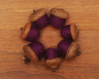 Violet Purple Felted  Acorns, ecofriendly wool, also available as ornaments