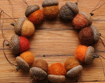 Orange Felted Wool Acorns or Acorn Ornaments, Set of 12