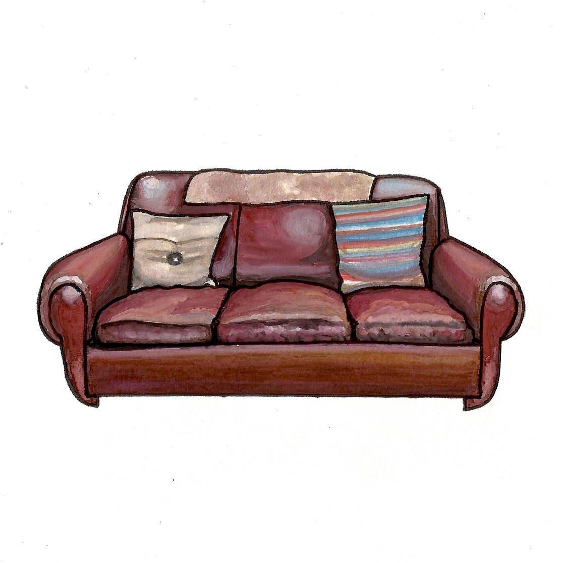 Sheldon S Couch Big Bang Theory Watercolor Print 5x7 Etsy