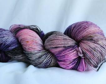 PINK LASHES  - SPARKLE Merino single sock yarn speckled shawl, 100 grams 400 yards , knitting