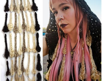 1 Fishtail braid extension. Messy Teardrop Fishtail Braid, your color choice. Clip in hair extension, synthetic fishtail braid. 1 piece