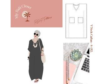 Dress, Caftan PDF Sewing Pattern, Size S-3XL, V Neck
