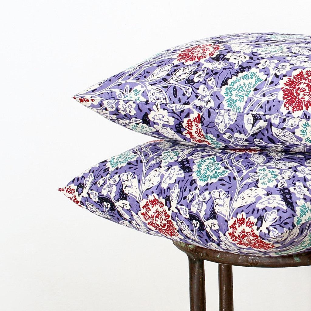 Indonesian Batik 16 X 16 Cotton 2 Pillow Covers Purple