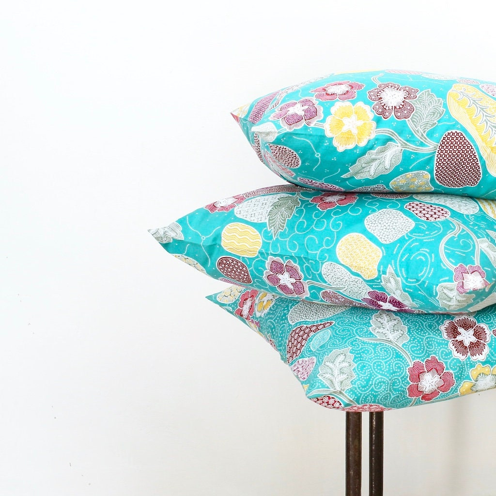 Indonesian Batik 18 X 18 Cotton 3 Pillow Covers Aqua
