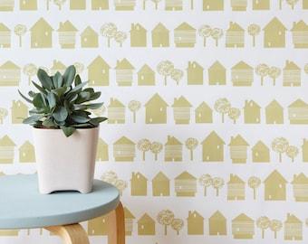 Scandinavian inspired wallpaper, sandy yellow houses on white, ideal for childrens room, living room, monochrome wall decor