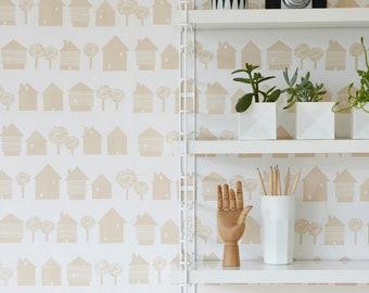 ON SALE Scandinavian inspired wallpaper, blush pink houses on white, ideal for childrens room, living room, monochrome wall decor