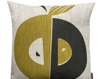 Apple cushion in olive and grey on natural or white linen