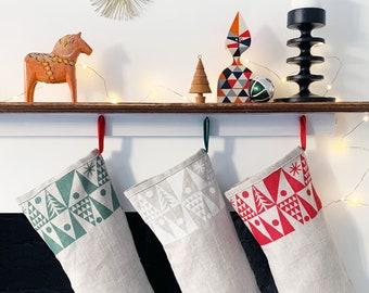 Nordic Tree Christmas stocking, handmade in natural linen, Scandinavian style stocking. Free UK postage.