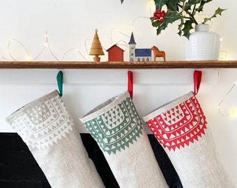 Icelandic Christmas stocking, handmade in natural linen, Scandinavian style stocking. Free UK postage.