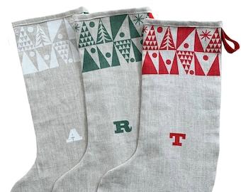 Personalised Nordic Tree Christmas stocking, handmade in natural linen, Scandinavian style stocking. Free UK Postage.