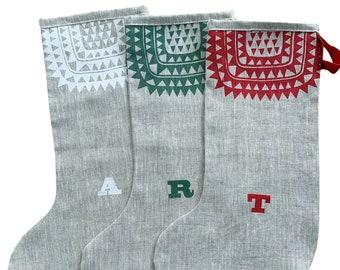 Personalised Icelandic Christmas stocking, handmade in natural linen, Scandinavian style stocking. Free UK postage.