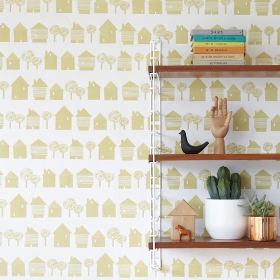 Papier Peint Inspiration Scandinave Maisons De Sable Jaune Sur Fond