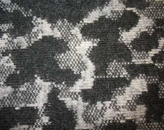 FABRIC Italian boiled wool, stormy day motif in dark charcoal and grey, ideal for coats, by the yard