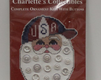 All American Santa Face Christmas Counted Cross Stitch Kit